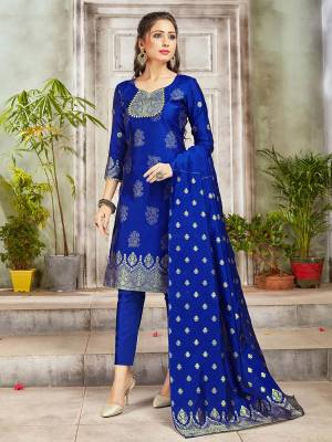 Grab This Pretty Designer Straight Suit In Royal Blue Color. Its Top, Bottom And Dupatta Are Fabricated On Banarasi Art Silk Beautified With Weave. Its Fabric and Color Gives A Rich Look To Your Perosnality.
