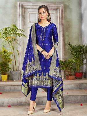 Celebrate This Festive Season Wearing this Designer Straight Suit In Royal Blue Color. Its Top, Bottom And Dupatta Are Fabricated Banarasi Art Silk Beautified With Weave. Buy This  Suit Now.