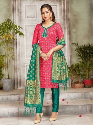Grab This Pretty Designer Straight Suit In Pink and Sea Green Color. Its Top, Bottom And Dupatta Are Fabricated On Banarasi Art Silk Beautified With Weave. Its Fabric and Color Gives A Rich Look To Your Perosnality.