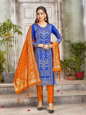 Grab This Pretty Designer Straight Suit In Royal Blue and Orange Color. Its Top, Bottom And Dupatta Are Fabricated On Banarasi Art Silk Beautified With Weave. Its Fabric and Color Gives A Rich Look To Your Perosnality.