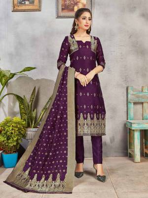 Grab This Pretty Designer Straight Suit In Purple. Its Top, Bottom And Dupatta Are Fabricated On Banarasi Art Silk Beautified With Weave. Its Fabric and Color Gives A Rich Look To Your Perosnality.