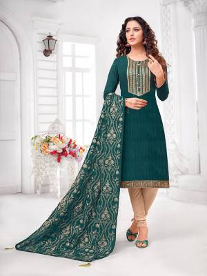 Grab This Designer Straight Suit For Your Semi-Casual Wear In Teal Blue Colored Top and Dupatta Paired With Cream Colored Bottom. Its Top and Dupatta Are Art Silk Based Paired With Cotton Bottom.