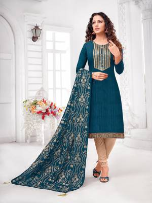 Grab This Designer Straight Suit For Your Semi-Casual Wear In Blue Colored Top and Dupatta Paired With Cream Colored Bottom. Its Top and Dupatta Are Art Silk Based Paired With Cotton Bottom.