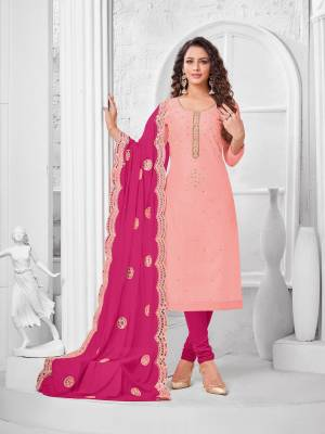 Here Is A Pretty Designer Straight Suit In Baby Pink Color Paired With Dark Pink Colored Bottom and Dupatta. Its Top Is Modal Silk Based Paired With Cotton Bottom and Chiffon Dupatta. All Its Fabrics Are Light Weight And Easy To Carry All Day Long