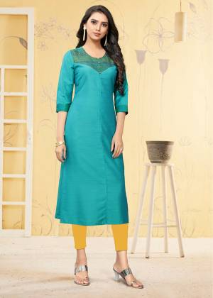 Simple And Elegant Looking Readymade Kurti Is Here For Your Semi-Casual Wear In Blue Color. This Kurti Is Fabricated On Viscose Slub Beautified With Thread Work.