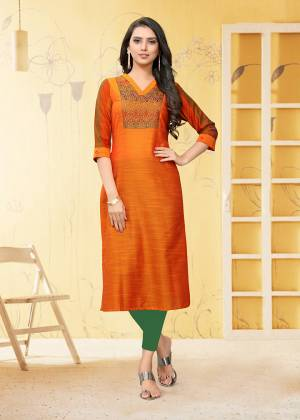 For Your Semi-Casual Wear, Grab This Straight Cut Readymade Kurti In Orange Color Fabricated On Viscose Slub. This Kurti Is Beautified With Thread Work. It Is Light Weight And Easy To Carry All Day Long.