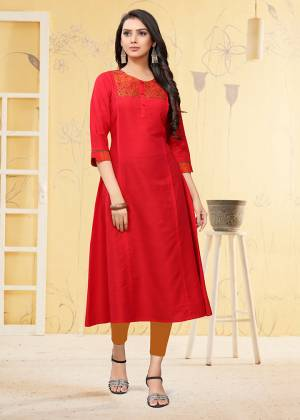 Simple And Elegant Looking Readymade Kurti Is Here For Your Semi-Casual Wear In Red Color. This Kurti Is Fabricated On Viscose Slub Beautified With Thread Work.