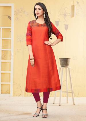 Simple And Elegant Looking Readymade Kurti Is Here For Your Semi-Casual Wear In Orange Color. This Kurti Is Fabricated On Viscose Slub Beautified With Thread Work.