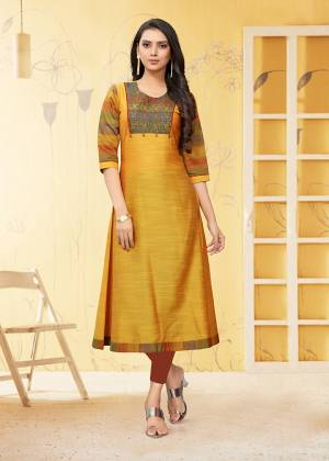 For Your Semi-Casual Wear, Grab This Straight Cut Readymade Kurti In Yellow Color Fabricated On Viscose Slub. This Kurti Is Beautified With Thread Work. It Is Light Weight And Easy To Carry All Day Long.