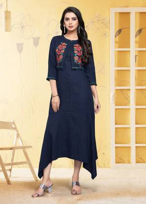 Grab This Readymade Kurti In Navy Blue Which Is Suitable For The Upcoming Festive Season. This Pretty Kurti Is Fabricated On Linen Beautified With Thread Work. It Is Light Weight and Available In All Regular Sizes.