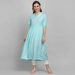 Simple and Elegant Looking Readymade Kurti Is Here In Sky Blue Color. This Pretty Kurti Is Fabricated On Rayon Which Is Soft Towards Skin And Easy To Carry All Day Long. Also, You Can Style This Plain Kurti In Many Ways As Per The Occasion.