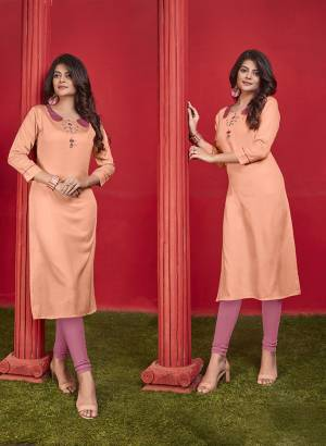 Simple And Elegant Looking Designer Straight Kurti Is Here In Orange Color Fabricated On Cotton. It Is Beautified With Thread Work And Available In All Regular Sizes. You Can Pair This Up With Leggings Or Pants. Buy Now.