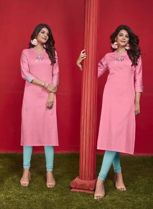 Simple And Elegant Looking Designer Straight Kurti Is Here In Pink Color Fabricated On Cotton. It Is Beautified With Thread Work And Available In All Regular Sizes. You Can Pair This Up With Leggings Or Pants. Buy Now.