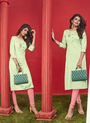 Simple And Elegant Looking Designer Straight Kurti Is Here In Light Green Color Fabricated On Cotton. It Is Beautified With Thread Work And Available In All Regular Sizes. You Can Pair This Up With Leggings Or Pants. Buy Now.