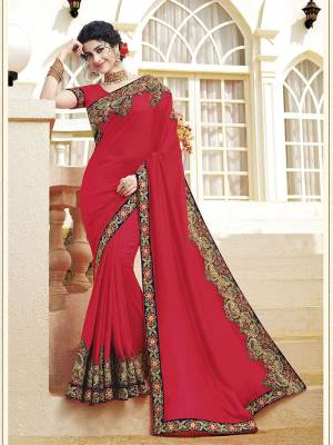 Look Attractive Wearing This Pretty Saree In Dark Pink Color. This Saree and Blouse Are Silk Based Beautified With Detailed Heavy Embroidery Giving An Attractive Look.