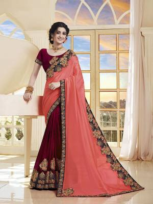 Add This Very Beautiful Designer Saree To Your Wardrobe In Peach And Maroon Color. This Saree and Blouse Are Silk Based Beautified With Embroidery. It Is Suitable For The Upcoming Wedding And Festive Season.