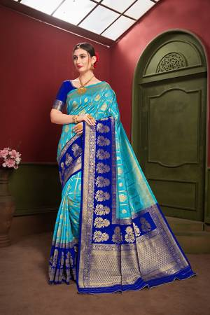 Adorn A Royal Traditional Look Wearing This Designer Silk Based saree In Blue And Royal Blue color. This Saree IS Fabricated On Banarasi Art Silk Paired With Art Silk Fabricated blouse. It Is Beautified With Rich Weave All Over.