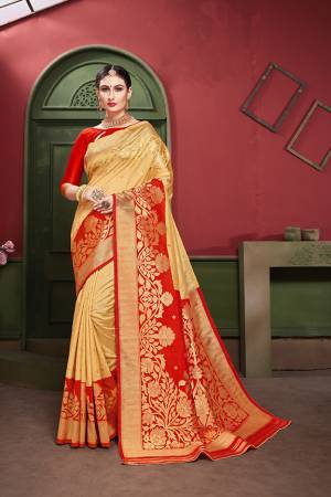 Adorn A Royal Traditional Look Wearing This Designer Silk Based saree In Cream And Red color. This Saree IS Fabricated On Banarasi Art Silk Paired With Art Silk Fabricated blouse. It Is Beautified With Rich Weave All Over.