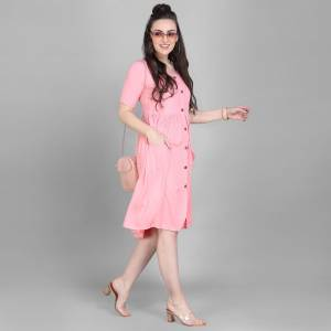 Grab This Super Comfy Readymade Kurti In Pink Color Fabricated On Rayon. Its Pretty Tunic Pattern And Fabric Ensures Superb Comfort All Day Long. Buy Now.