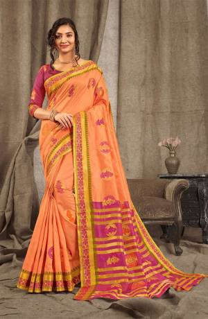 Look Beautiful Wearing This Rich Designer Saree In Dark Peach Color Paired With Contrasting Magenta Pink Colored Blouse. This Saree And Blouse Are Fabricated On Cotton Handloom Beautified With Weave. Buy Now.