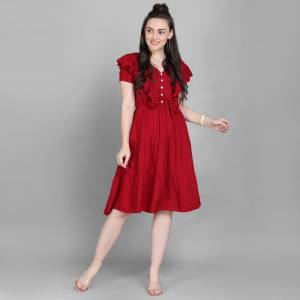 Here Is A Lovely Readymade Western Dress Pattern Readymade Kurti In Red Color. This Kurti Is Fabricated On Rayon Which Is Soft Towards Skin And Easy To Carry All Day Long.