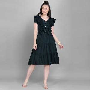 Here Is A Lovely Readymade Western Dress Pattern Readymade Kurti In Prussian Blue Color. This Kurti Is Fabricated On Rayon Which Is Soft Towards Skin And Easy To Carry All Day Long.