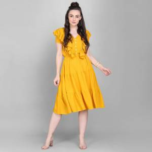 Here Is A Lovely Readymade Western Dress Pattern Readymade Kurti In Yellow Color. This Kurti Is Fabricated On Rayon Which Is Soft Towards Skin And Easy To Carry All Day Long.