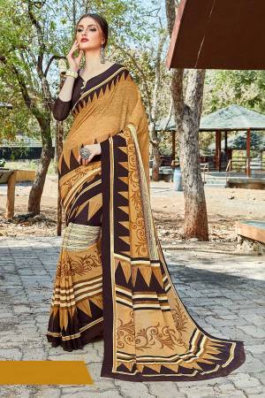 Simple And Elegant Looking Saree Is Here For Daily Wear In Beige color paired with Dark Brown Colored Blouse. This Saree And Blouse Are Georgette Based Which IS Light Weight And Ensures Superb Comfort All Day Long.