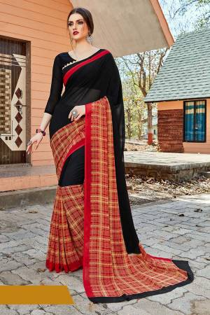For Your Casual Or Semi-Casual Wear, Grab This Printed saree In Black And Red Color paired With Black Colored blouse. This Saree And Blouse Are Fabricated On Georgette Beautified With Prints. It Is Light In Weight And Easy To Carry All Day Long.