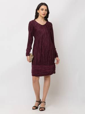 Grab This Pretty Party Wear One-Piece In Wine color Fabricated On Satin. Its Lovely Crush Pattern Gives A Unique Look And Also This Dres Is Available In All Regular Sizes.
