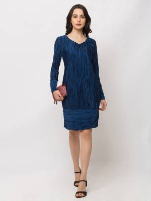 Grab This Pretty Party Wear One-Piece In Blue color Fabricated On Satin. Its Lovely Crush Pattern Gives A Unique Look And Also This Dres Is Available In All Regular Sizes.