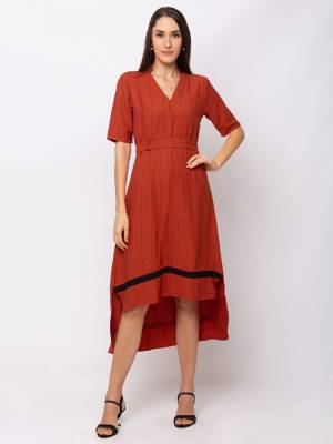 Here Is A Lovely High Low Patterned Readymade One-Piece Dress In Rust Orange Color. This Dress Is Viscose Based Which Is Light Weight, Durable And Easy To Carry All Day Long.