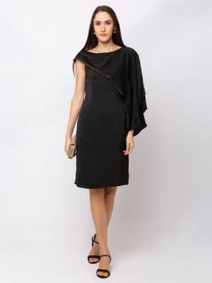 Grab This Pretty Party Wear One-Piece In Black color Fabricated On Cotton. Its Lovely One Shoulder Pattern Gives A Unique Look And Also This Dres Is Available In All Regular Sizes.