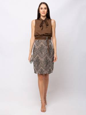For A Glam Look, Grab This Designer Party Wear One Piece In Brown And Grey Color. This Pretty Piece Is Satin Based Which Also Gives An Attractive Look To Your Personality.