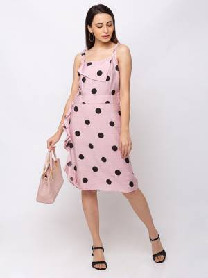 Look Pretty In This Readymade One-Piece Dress In Baby Pink Color Fabricated On Cotton. This Pretty Dress Is Beautified With Polka Dots Prints Which Gives A Cute Look.