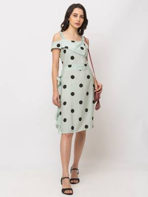 Look Pretty In This Readymade One-Piece Dress In Pastel Green Color Fabricated On Cotton. This Pretty Dress Is Beautified With Polka Dots Prints Which Gives A Cute Look.