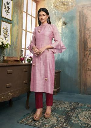 Grab This Designer Readymade Pair Of Kurti In Pink Color Paired With Maroon Colored Bottom. Its top Is Fabricated On Slub Silk Paired With Mal Cotton  Fabricated bottom. Both Its Fabrics Are Light Weight , Durable And Easy To Carry All Day Long.