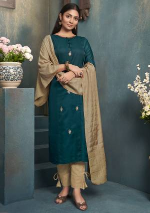 Be Ready For This Festive Season With This Readymade Straight Kurti In Teal Blue Color Paired With Beige Colored Dupatta. This Kurti Is Art Silk Based Paired With Linen Silk Dupatta.