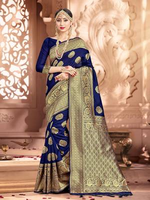 Shine Bright Wearing This Pretty Designer Navy Blue Colored Heavy?Weaved Saree. This Saree And Blouse Are Fabricated On Banarasi Art Silk Beautified With Weave All Over. It Is Suitable For Upcoming Wedding And Festive Season. Buy Now.