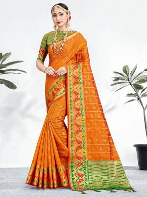Shine Bright Wearing This Pretty Designer Orange Colored Heavy Weaved Saree. This Saree And Blouse Are Fabricated On Banarasi Art Silk Beautified With Weave All Over. It Is Suitable For Upcoming Wedding And Festive Season. Buy Now.