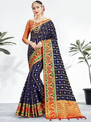 Shine Bright Wearing This Pretty Designer Navy Blue Colored Heavy Weaved Saree. This Saree And Blouse Are Fabricated On Banarasi Art Silk Beautified With Weave All Over. It Is Suitable For Upcoming Wedding And Festive Season. Buy Now.