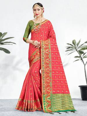 Shine Bright Wearing This Pretty Designer Pink Colored Heavy Weaved Saree. This Saree And Blouse Are Fabricated On Banarasi Art Silk Beautified With Weave All Over. It Is Suitable For Upcoming Wedding And Festive Season. Buy Now.