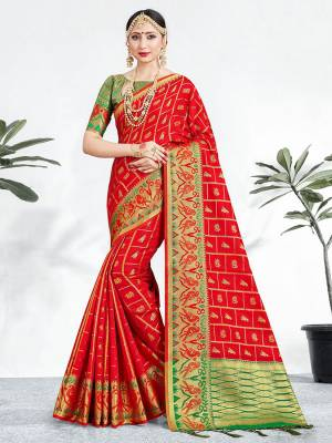 Shine Bright Wearing This Pretty Designer Red Colored Heavy Weaved Saree. This Saree And Blouse Are Fabricated On Banarasi Art Silk Beautified With Weave All Over. It Is Suitable For Upcoming Wedding And Festive Season. Buy Now.