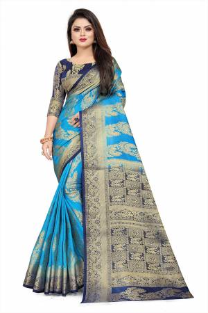 Grab This Beautiful Designer Weaved Saree In Blue color Paired With Royal Blue Colored Blouse. This Saree And Blouse Are Fabricated On Art Silk Which Also Gives A Rich Look To Your Personality.