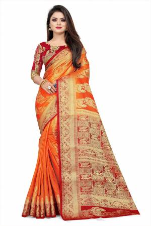 Celebrate This Festive Season In A Proper Traditonal Look Wearing This Silk Based Saree In Orange Color Paired With Red Colored Blouse. This Saree And Blouse Are Fabricated On Art Silk Beautified with Weave.