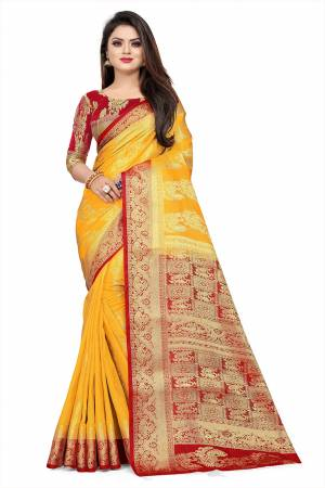 Celebrate This Festive Season In A Proper Traditonal Look Wearing This Silk Based Saree In Musturd Yellow Color Paired With Red Colored Blouse. This Saree And Blouse Are Fabricated On Art Silk Beautified with Weave.