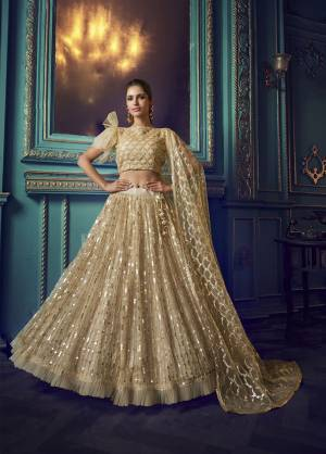 Here Is A Very Pretty Heavy Designer Lehenga Choli In Beige Color. Its Pretty Heavy Embroidered Lehenga, Choli And Dupatta Are Fabricated On Net. Its Fabric, Color And Embroidery Will Earn You Lots Of Compliments From Onlookers.