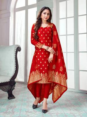 Celebrate This Festive Season In A Proper Traditional Look Wearing This Weaved Straight Suit In Red Color. This Pretty Suit Is Banarasi Silk Based Beautified With Weave. Its Fabric Gives A Rich Look To Your Personality