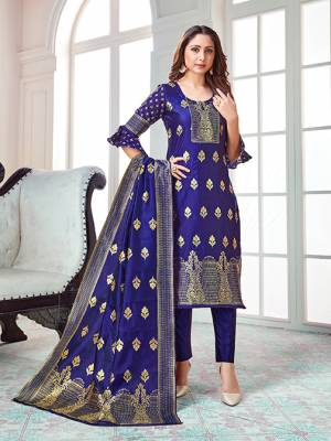 Celebrate This Festive Season In A Proper Traditional Look Wearing This Weaved Straight Suit In Royal Blue Color. This Pretty Suit Is Banarasi Silk Based Beautified With Weave. Its Fabric Gives A Rich Look To Your Personality