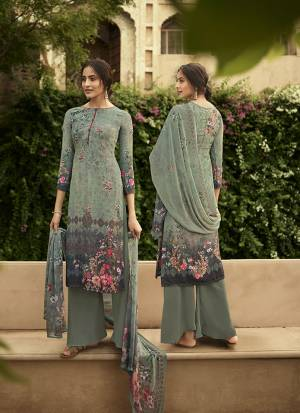 Grab This Pretty Digital Printed Dress Material In Mint Green Color. Its Top And Bottom Are Fabricated On Crepe Paired With Georgette Fabricated Dupatta. Get This Stitched As Per Your Desired Fit And Comfort